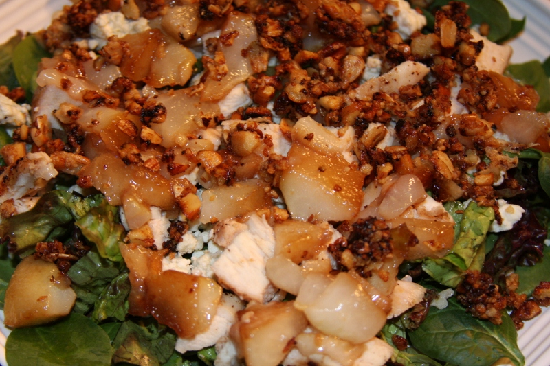 Chicken, Roast Pear, Pecan and Blue Cheese Mixed Greens Salad ...